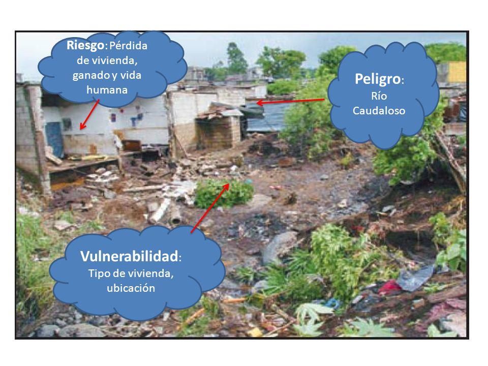 Riesgo : Pérdida de vivienda, ganado y vida humana Peligro : Río Caudaloso Vulnerabilidad : Tipo de vivienda, ubicación