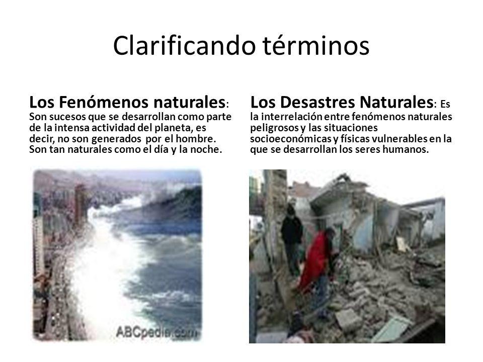 Clarificando términos Los Fenómenos naturales : Son sucesos que se desarrollan como parte de la intensa actividad del planeta, es decir, no son generados por el hombre.