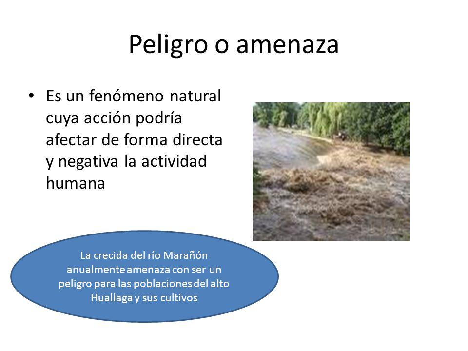 Peligro o amenaza Es un fenómeno natural cuya acción podría afectar de forma directa y negativa la actividad humana La crecida del río Marañón anualmente amenaza con ser un peligro para las poblaciones del alto Huallaga y sus cultivos