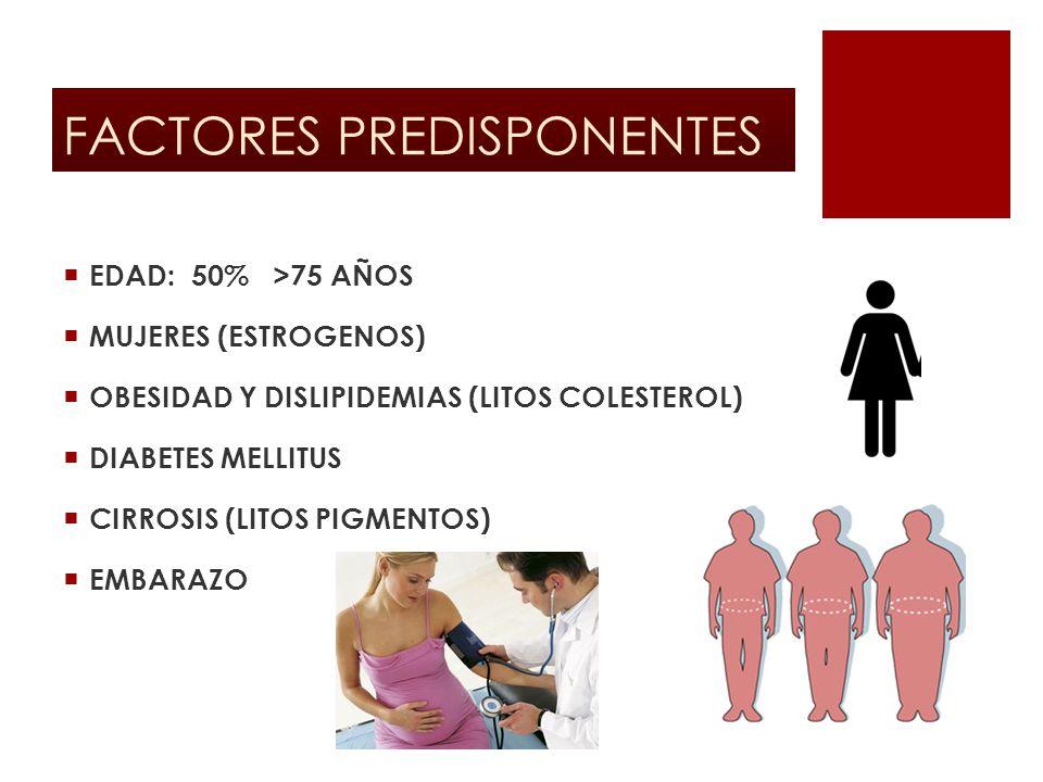 FACTORES PREDISPONENTES EDAD: 50% >75 AÑOS MUJERES (ESTROGENOS) OBESIDAD Y DISLIPIDEMIAS (LITOS COLESTEROL) DIABETES MELLITUS CIRROSIS (LITOS PIGMENTO