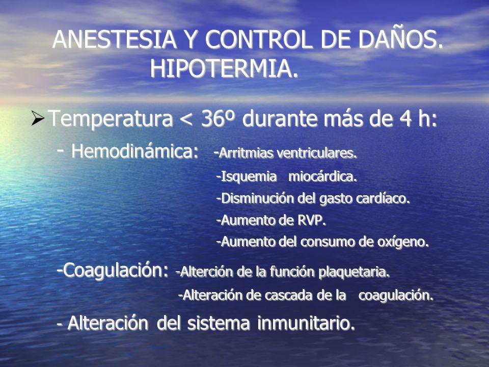 ANESTESIA Y CONTROL DE DAÑOS. HIPOTERMIA. ANESTESIA Y CONTROL DE DAÑOS.