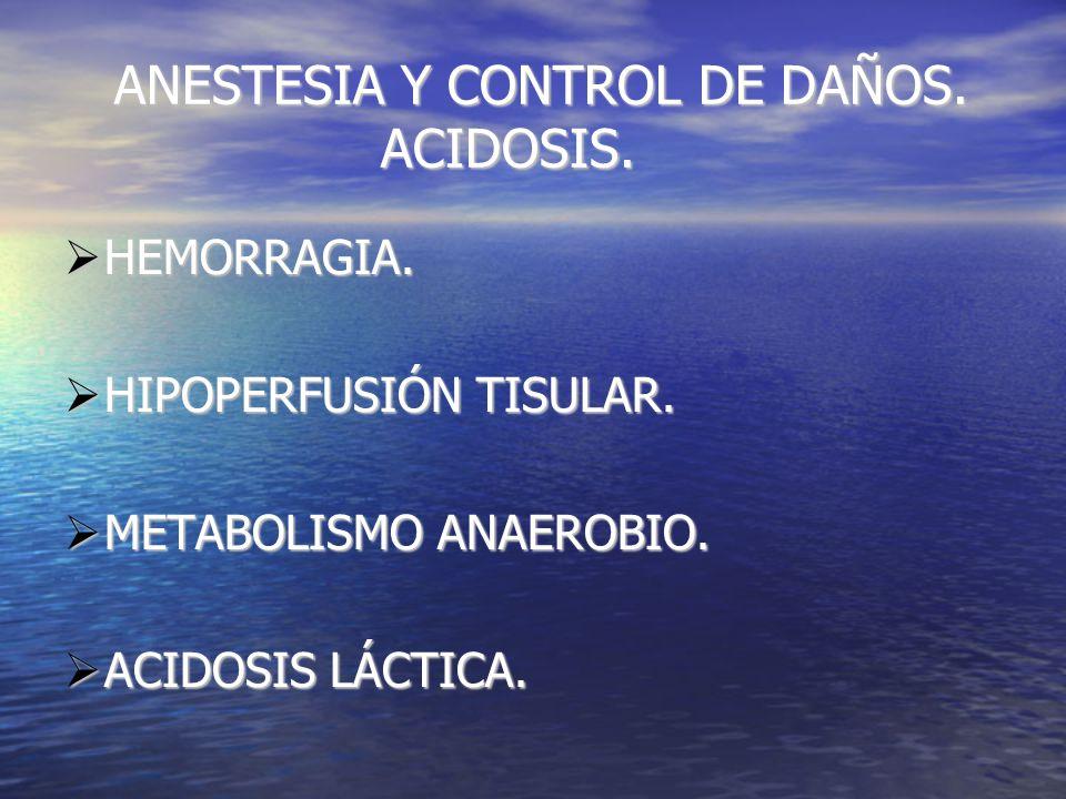 ANESTESIA Y CONTROL DE DAÑOS. ACIDOSIS. ANESTESIA Y CONTROL DE DAÑOS.