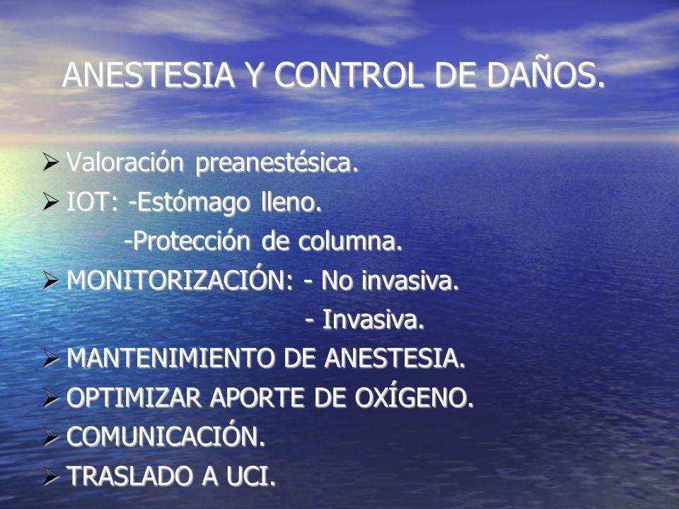 ANESTESIA Y CONTROL DE DAÑOS. ANESTESIA Y CONTROL DE DAÑOS.