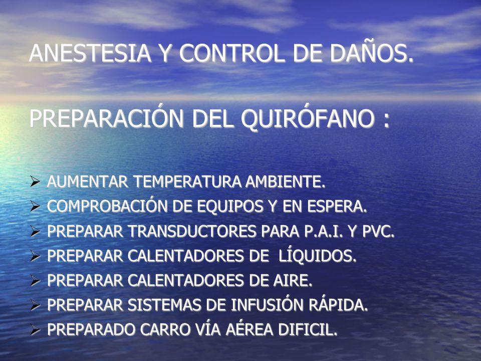 ANESTESIA Y CONTROL DE DAÑOS. EVITAR TRIADA LETAL EVITAR TRIADA LETAL