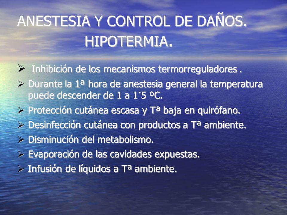 ANESTESIA Y CONTROL DE DAÑOS. HIPOTERMIA. Inhibición de los mecanismos termorreguladores.
