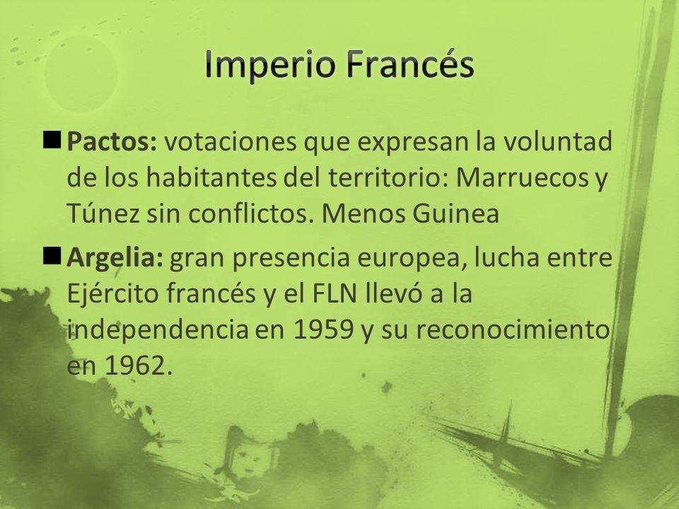 Pactos: votaciones que expresan la voluntad de los habitantes del territorio: Marruecos y Túnez sin conflictos. Menos Guinea Argelia: gran presencia e