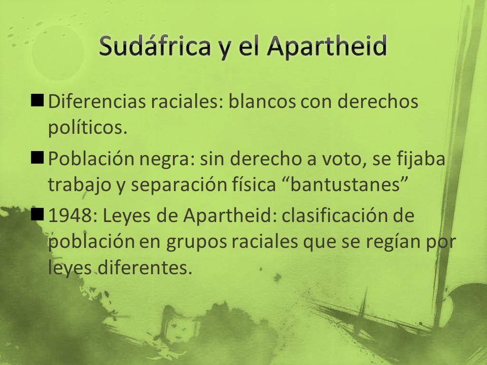 Diferencias raciales: blancos con derechos políticos. Población negra: sin derecho a voto, se fijaba trabajo y separación física bantustanes 1948: Ley