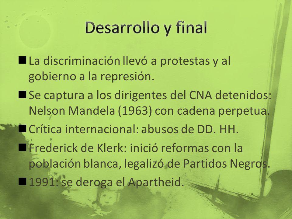 La discriminación llevó a protestas y al gobierno a la represión. Se captura a los dirigentes del CNA detenidos: Nelson Mandela (1963) con cadena perp