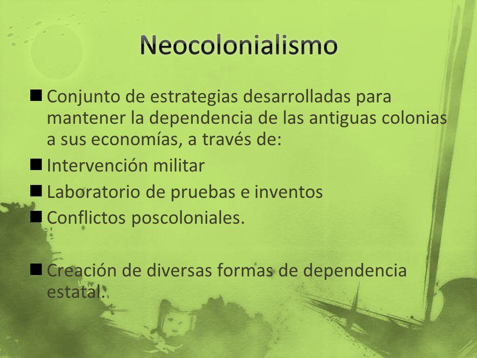 Conjunto de estrategias desarrolladas para mantener la dependencia de las antiguas colonias a sus economías, a través de: Intervención militar Laborat
