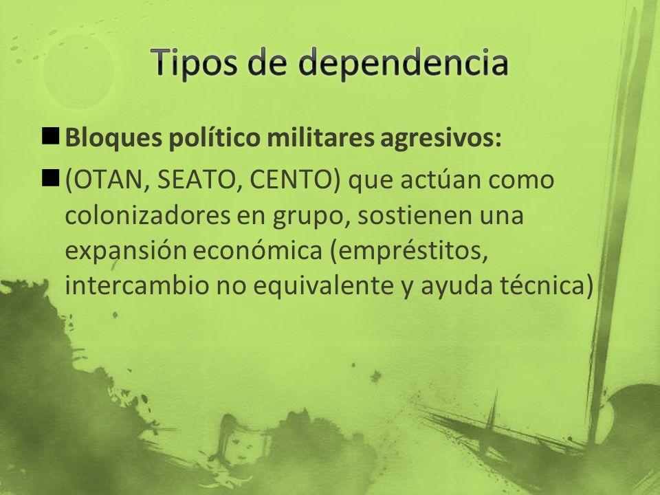 Bloques político militares agresivos: (OTAN, SEATO, CENTO) que actúan como colonizadores en grupo, sostienen una expansión económica (empréstitos, int