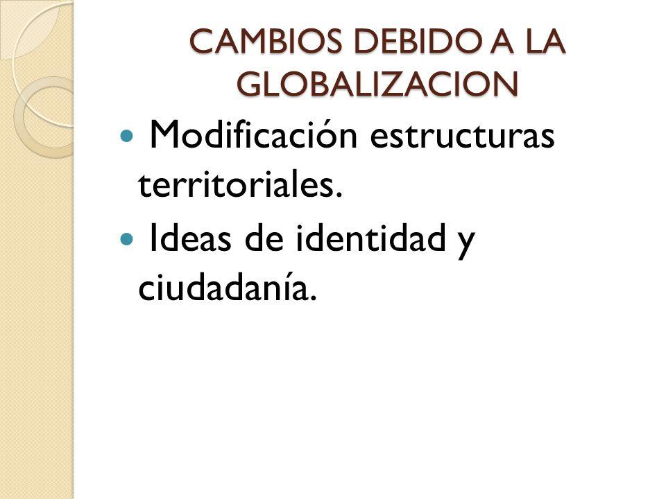 CAMBIOS DEBIDO A LA GLOBALIZACION Modificación estructuras territoriales.