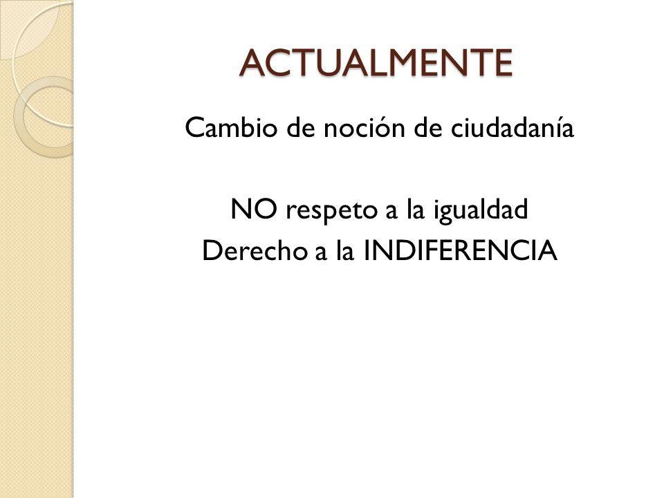 ACTUALMENTE Cambio de noción de ciudadanía NO respeto a la igualdad Derecho a la INDIFERENCIA