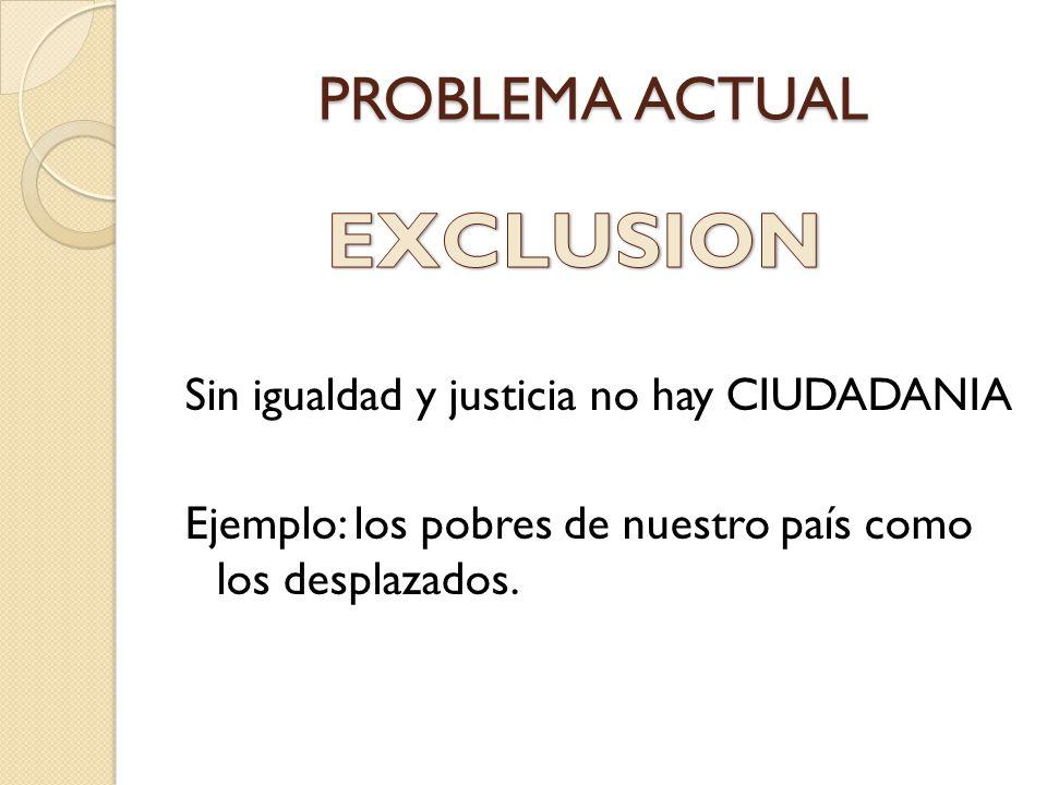 PROBLEMA ACTUAL Sin igualdad y justicia no hay CIUDADANIA Ejemplo: los pobres de nuestro país como los desplazados.