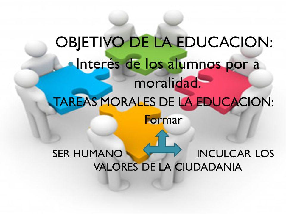 OBJETIVO DE LA EDUCACION: Interés de los alumnos por a moralidad.