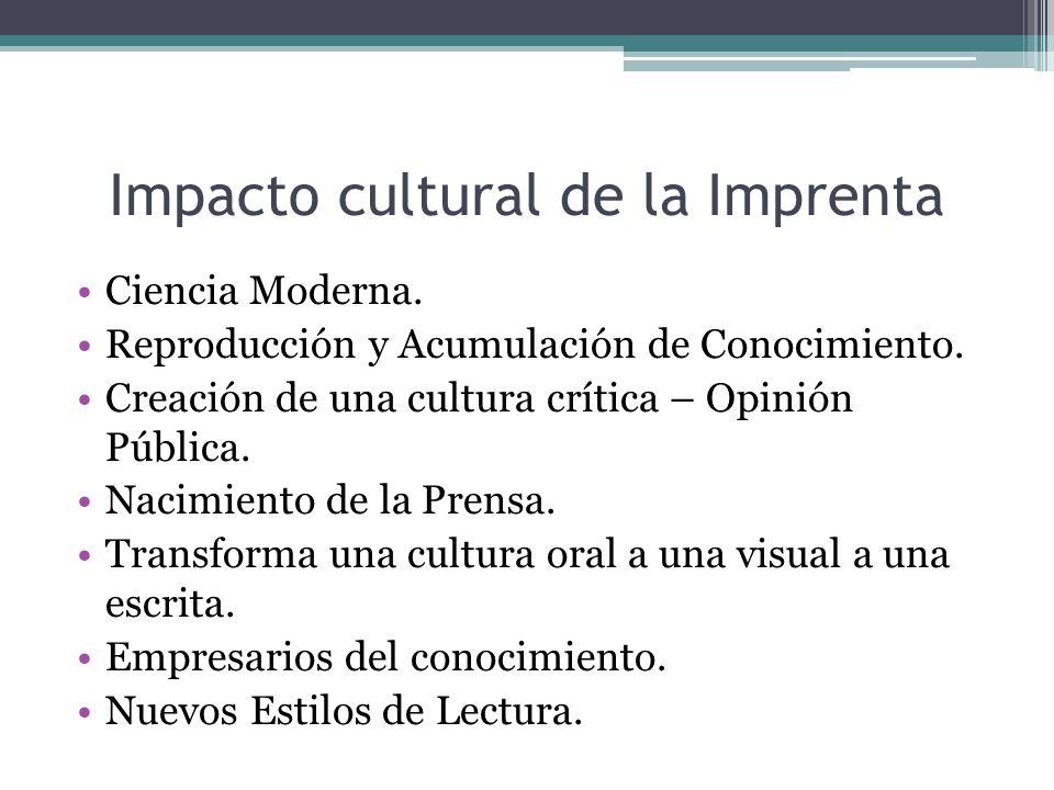 Impacto cultural de la Imprenta Ciencia Moderna.Reproducción y Acumulación de Conocimiento.