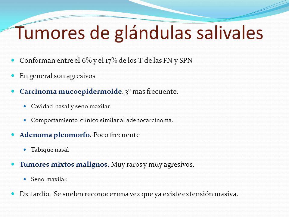 Tumores de glándulas salivales Conforman entre el 6% y el 17% de los T de las FN y SPN En general son agresivos Carcinoma mucoepidermoide. 3° mas frec