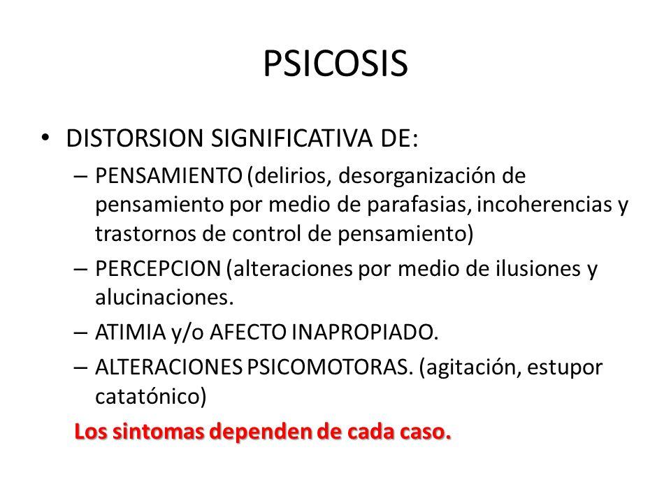 PSICOSIS DISTORSION SIGNIFICATIVA DE: – PENSAMIENTO (delirios, desorganización de pensamiento por medio de parafasias, incoherencias y trastornos de c