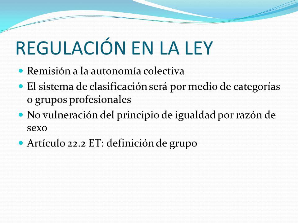 REGULACIÓN EN LA LEY Remisión a la autonomía colectiva El sistema de clasificación será por medio de categorías o grupos profesionales No vulneración