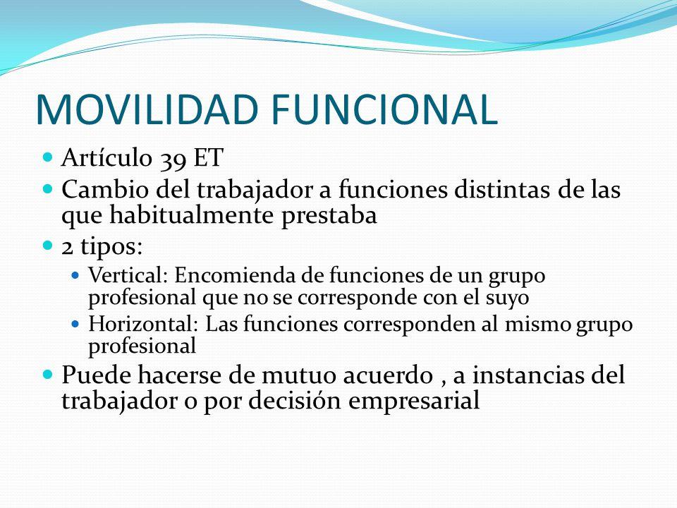 MOVILIDAD FUNCIONAL Artículo 39 ET Cambio del trabajador a funciones distintas de las que habitualmente prestaba 2 tipos: Vertical: Encomienda de func