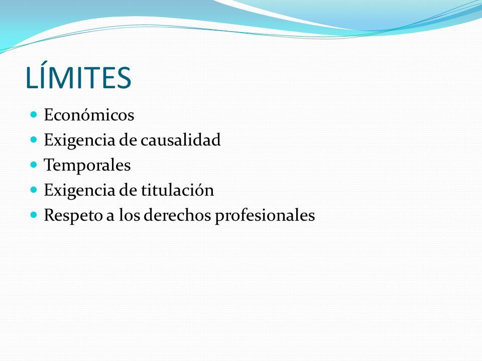 LÍMITES Económicos Exigencia de causalidad Temporales Exigencia de titulación Respeto a los derechos profesionales