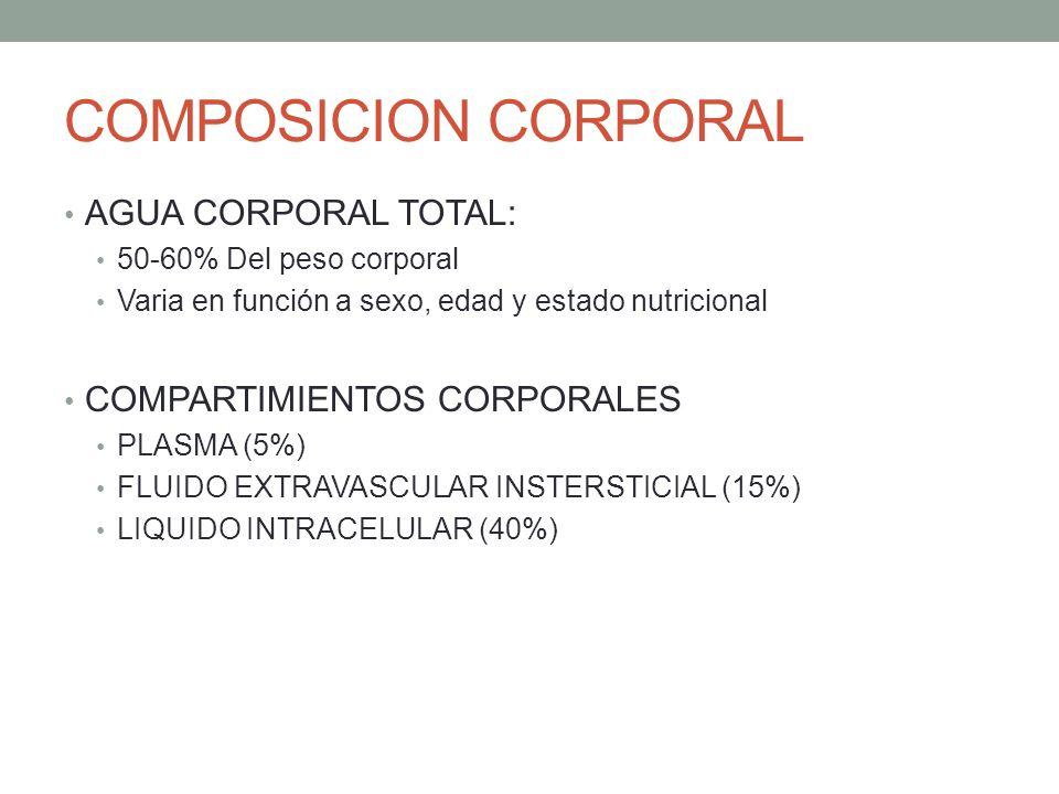 COMPOSICION CORPORAL AGUA CORPORAL TOTAL: 50-60% Del peso corporal Varia en función a sexo, edad y estado nutricional COMPARTIMIENTOS CORPORALES PLASM