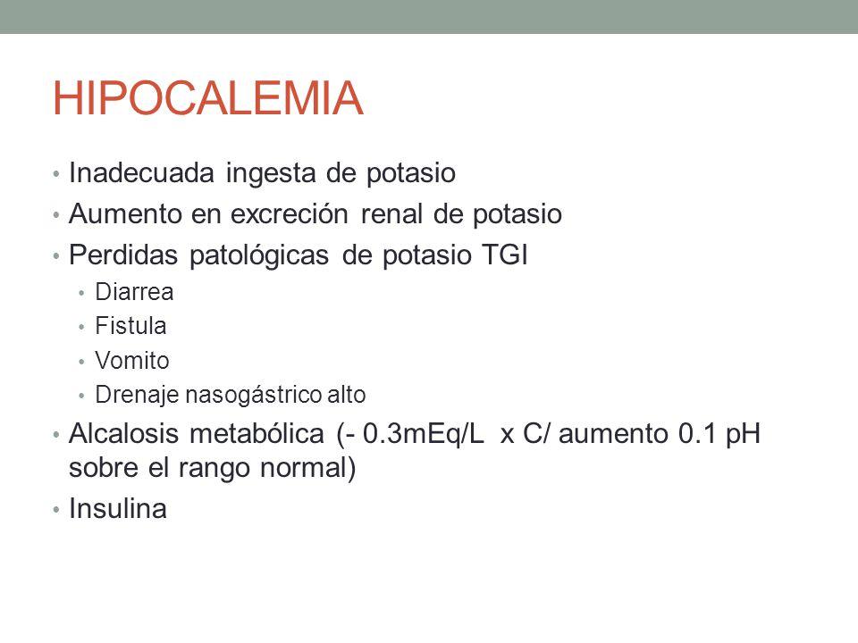 HIPOCALEMIA Inadecuada ingesta de potasio Aumento en excreción renal de potasio Perdidas patológicas de potasio TGI Diarrea Fistula Vomito Drenaje nas