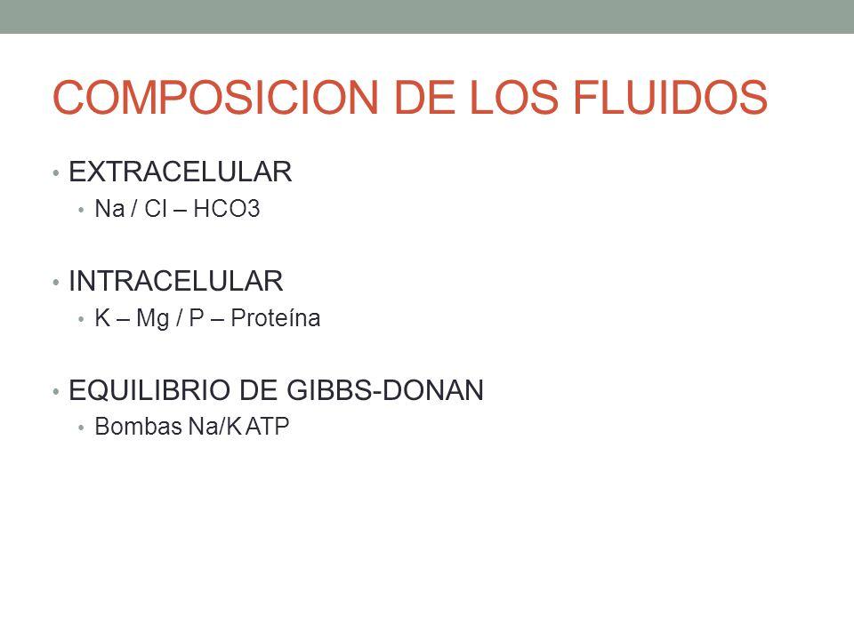 COMPOSICION DE LOS FLUIDOS EXTRACELULAR Na / Cl – HCO3 INTRACELULAR K – Mg / P – Proteína EQUILIBRIO DE GIBBS-DONAN Bombas Na/K ATP