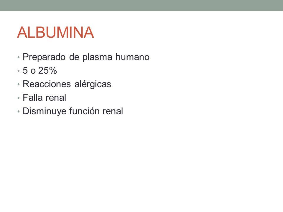 ALBUMINA Preparado de plasma humano 5 o 25% Reacciones alérgicas Falla renal Disminuye función renal