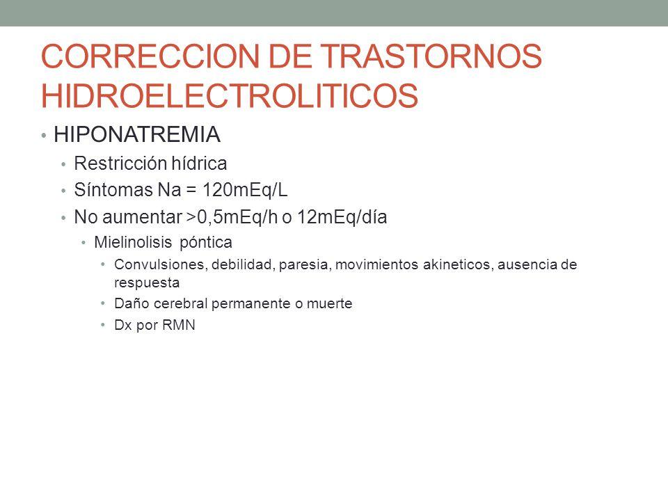 CORRECCION DE TRASTORNOS HIDROELECTROLITICOS HIPONATREMIA Restricción hídrica Síntomas Na = 120mEq/L No aumentar >0,5mEq/h o 12mEq/día Mielinolisis pó