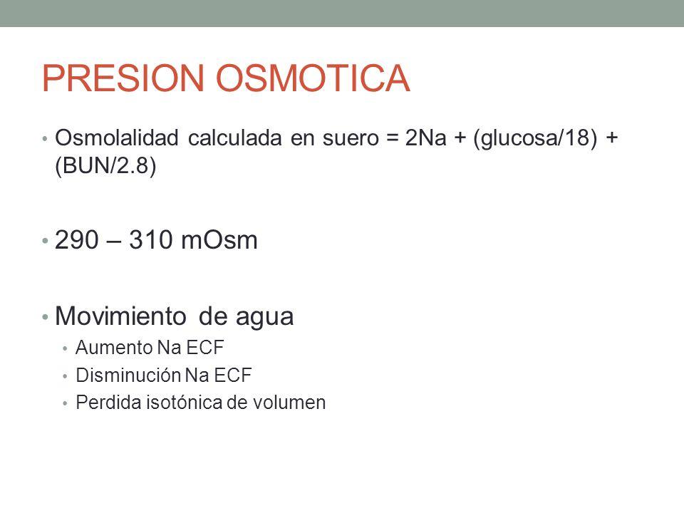 PRESION OSMOTICA Osmolalidad calculada en suero = 2Na + (glucosa/18) + (BUN/2.8) 290 – 310 mOsm Movimiento de agua Aumento Na ECF Disminución Na ECF P