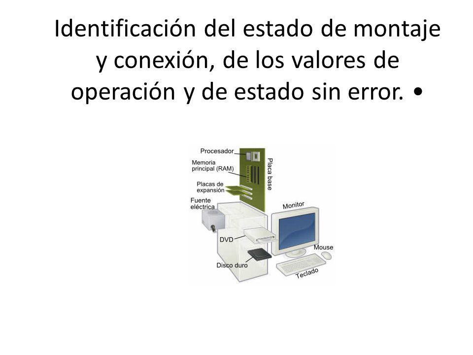 Identificación del estado de montaje y conexión, de los valores de operación y de estado sin error.