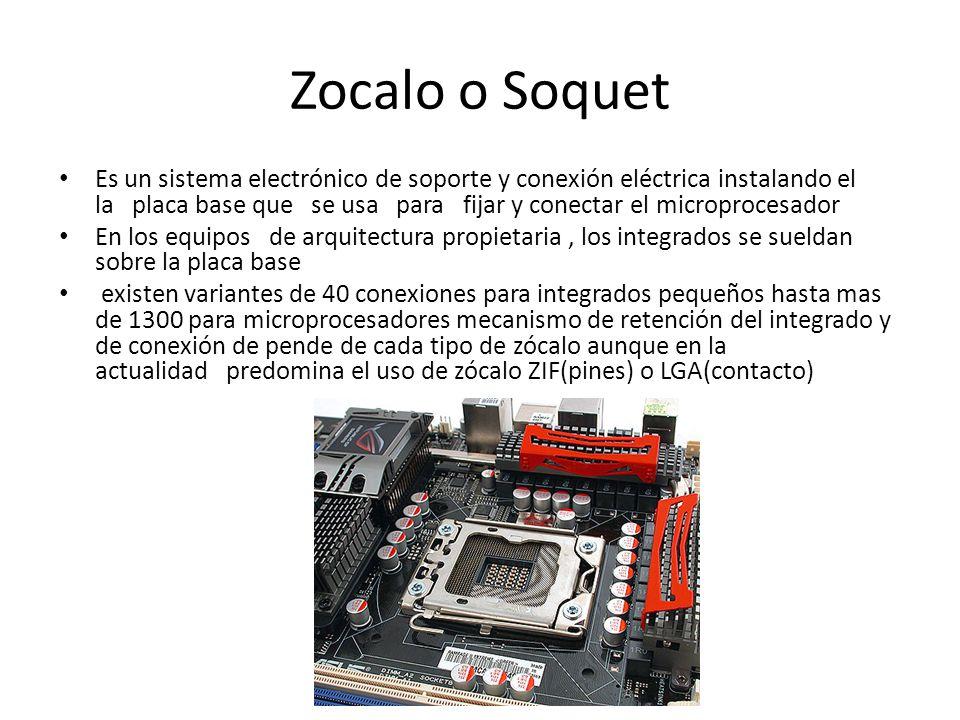 Zocalo o Soquet Es un sistema electrónico de soporte y conexión eléctrica instalando el la placa base que se usa para fijar y conectar el microprocesa