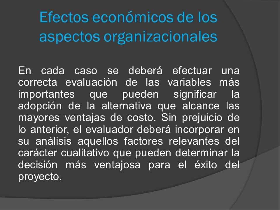 Efectos económicos de los aspectos organizacionales En cada caso se deberá efectuar una correcta evaluación de las variables más importantes que puede