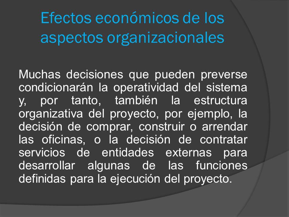 Efectos económicos de los aspectos organizacionales Muchas decisiones que pueden preverse condicionarán la operatividad del sistema y, por tanto, tamb