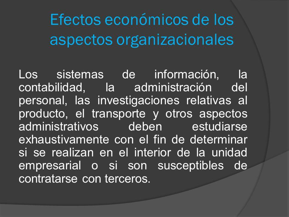 Efectos económicos de los aspectos organizacionales Los sistemas de información, la contabilidad, la administración del personal, las investigaciones