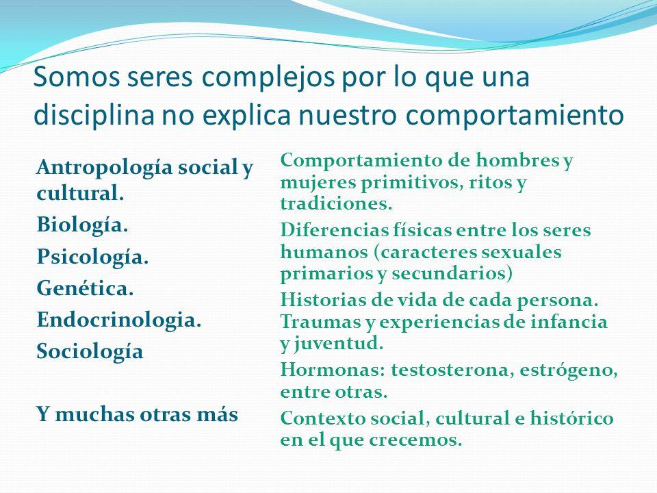 Somos seres complejos por lo que una disciplina no explica nuestro comportamiento Antropología social y cultural. Biología. Psicología. Genética. Endo
