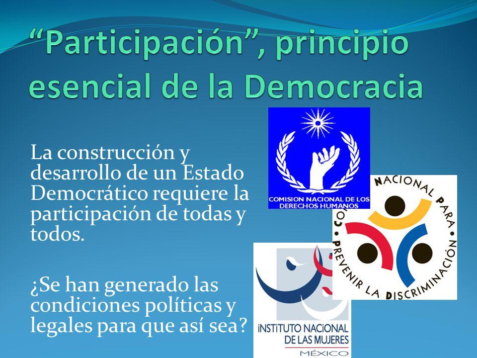 La construcción y desarrollo de un Estado Democrático requiere la participación de todas y todos. ¿Se han generado las condiciones políticas y legales