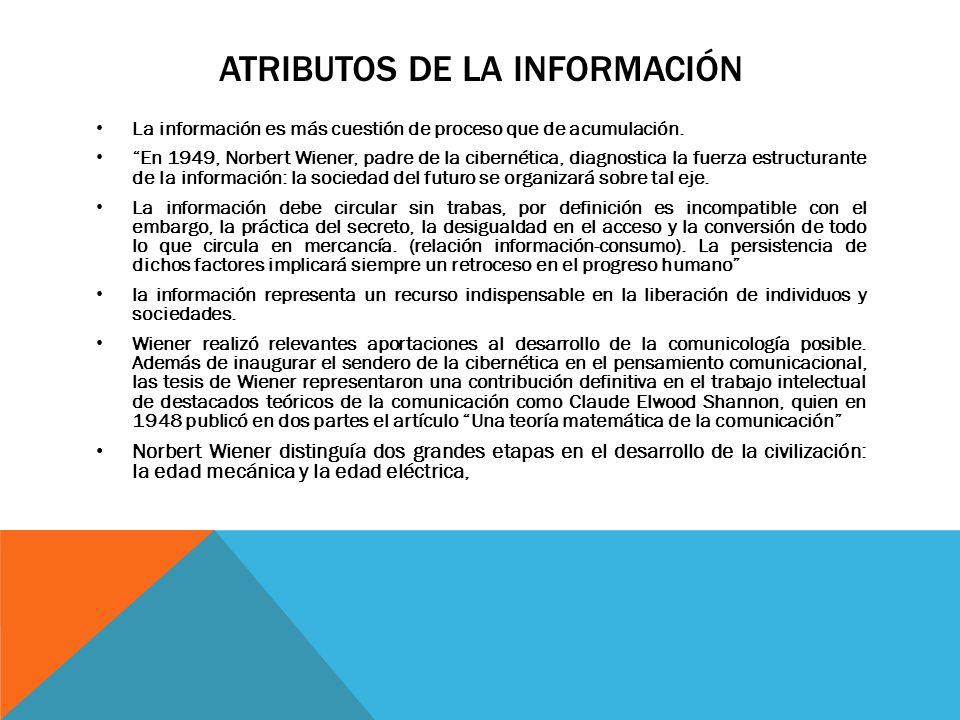 ATRIBUTOS DE LA INFORMACIÓN La información es más cuestión de proceso que de acumulación. En 1949, Norbert Wiener, padre de la cibernética, diagnostic