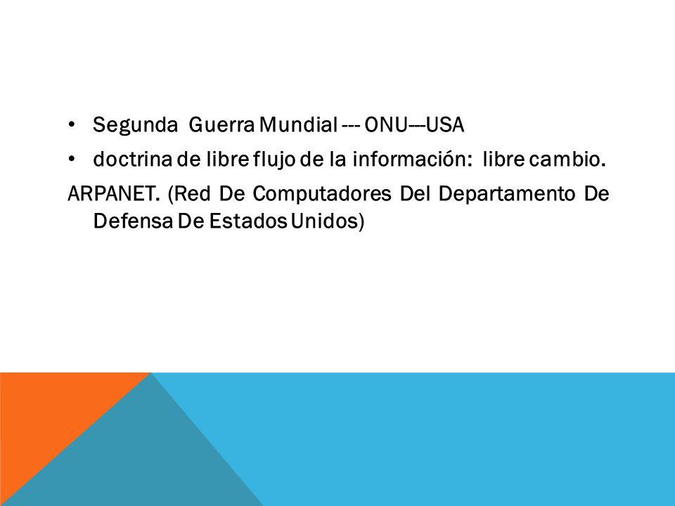 Segunda Guerra Mundial --- ONU---USA doctrina de libre flujo de la información: libre cambio. ARPANET. (Red De Computadores Del Departamento De Defens