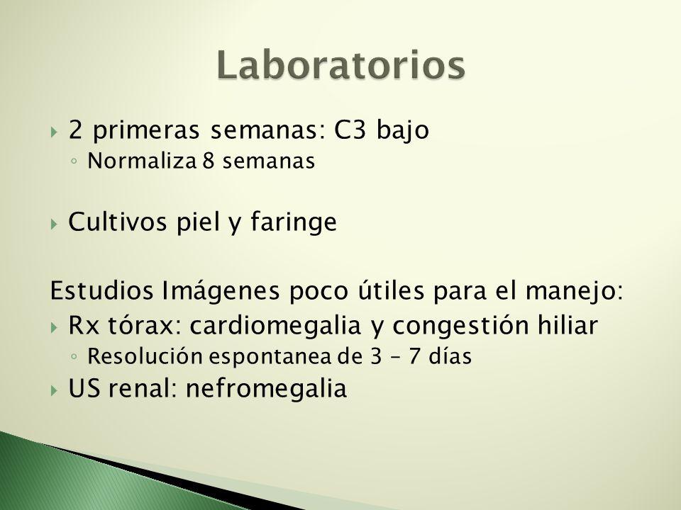 2 primeras semanas: C3 bajo Normaliza 8 semanas Cultivos piel y faringe Estudios Imágenes poco útiles para el manejo: Rx tórax: cardiomegalia y conges