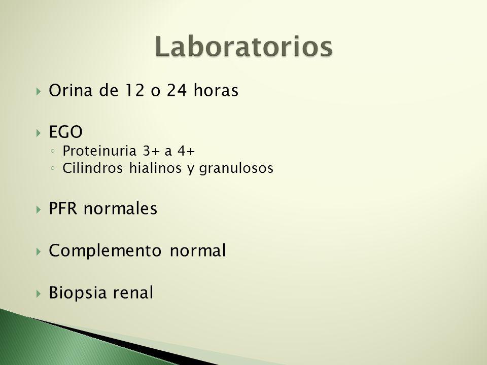Orina de 12 o 24 horas EGO Proteinuria 3+ a 4+ Cilindros hialinos y granulosos PFR normales Complemento normal Biopsia renal