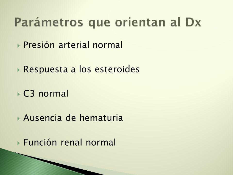 Presión arterial normal Respuesta a los esteroides C3 normal Ausencia de hematuria Función renal normal