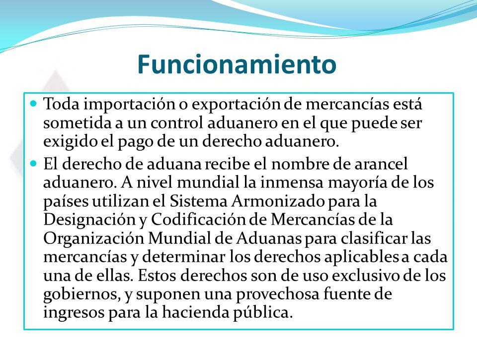 Funcionamiento Toda importación o exportación de mercancías está sometida a un control aduanero en el que puede ser exigido el pago de un derecho aduanero.