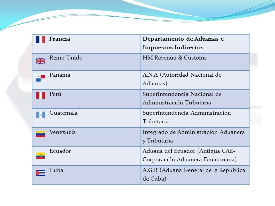 Francia Departamento de Aduanas e Impuestos Indirectos Reino UnidoHM Revenue & Customs Panamá A.N.A (Autoridad Nacional de Aduanas) Perú Superintendencia Nacional de Administración Tributaria Guatemala Superintendencia Administración Tributaria Venezuela Integrado de Administración Aduanera y Tributaria Ecuador Aduana del Ecuador (Antigua CAE- Corporación Aduanera Ecuatoriana) CubaA.G.R (Aduana General de la República de Cuba)
