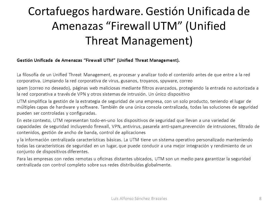Cortafuegos hardware. Gestión Unificada de Amenazas Firewall UTM (Unified Threat Management) Gestión Unificada de Amenazas Firewall UTM (Unified Threa