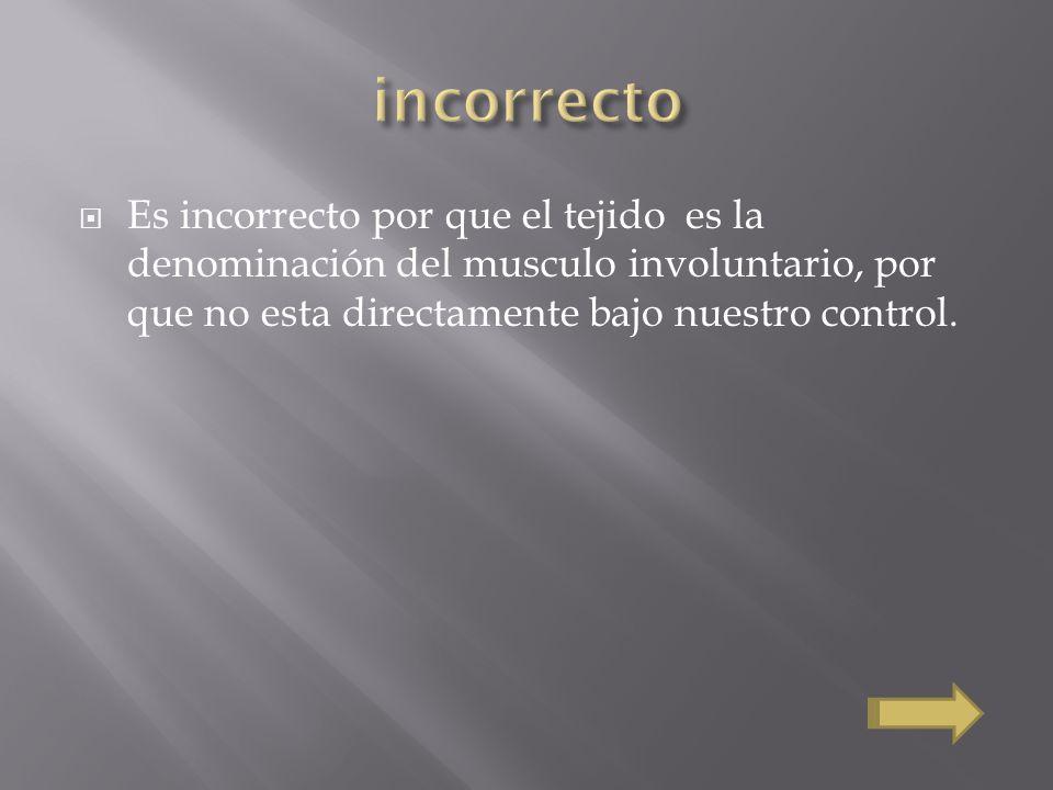 Es incorrecto por que el tejido es la denominación del musculo involuntario, por que no esta directamente bajo nuestro control.