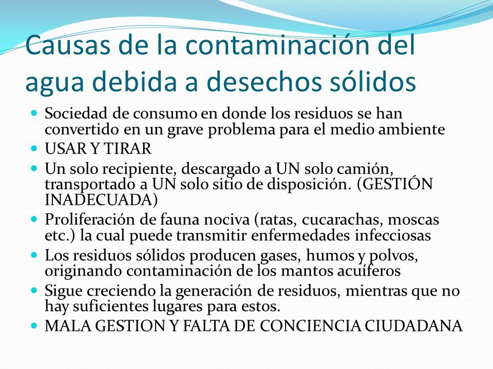 Causas de la contaminación del agua debida a desechos sólidos Sociedad de consumo en donde los residuos se han convertido en un grave problema para el
