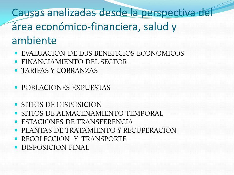 Causas analizadas desde la perspectiva del área económico-financiera, salud y ambiente EVALUACION DE LOS BENEFICIOS ECONOMICOS FINANCIAMIENTO DEL SECT