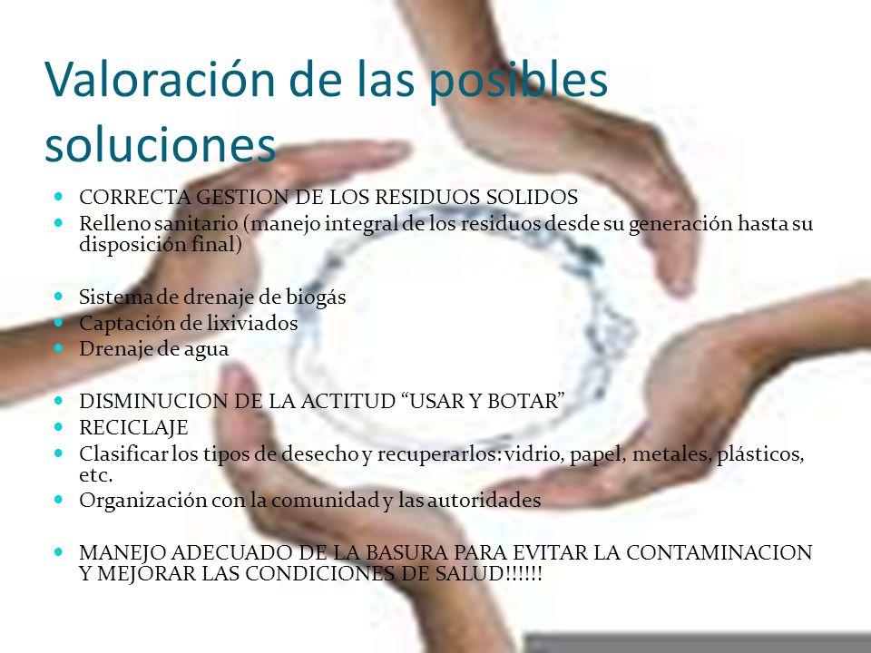 Valoración de las posibles soluciones CORRECTA GESTION DE LOS RESIDUOS SOLIDOS Relleno sanitario (manejo integral de los residuos desde su generación