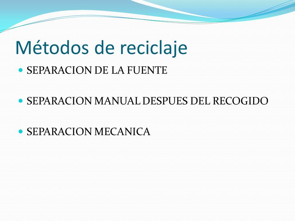 Métodos de reciclaje SEPARACION DE LA FUENTE SEPARACION MANUAL DESPUES DEL RECOGIDO SEPARACION MECANICA
